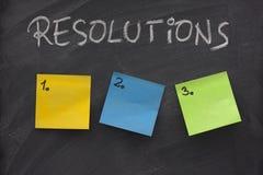 Lista en blanco de resoluciones en la pizarra Fotos de archivo libres de regalías