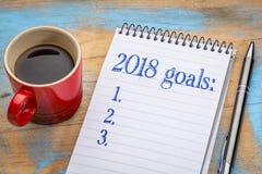 lista för 2018 mål i anteckningsbok Fotografering för Bildbyråer