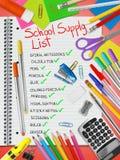Lista för skolatillförsel royaltyfri bild
