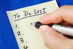 lista förbereder sig till Royaltyfri Fotografi