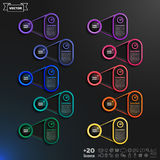 Lista infographic del diseño del vector con los círculos coloridos Imagen de archivo libre de regalías