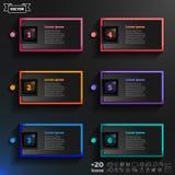 Lista infographic del diseño del vector con los cuadrados coloridos Foto de archivo libre de regalías