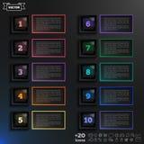Lista infographic di progettazione di vettore con i quadrati variopinti Immagini Stock Libere da Diritti