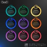 Lista infographic do projeto do vetor com círculos coloridos Imagens de Stock Royalty Free