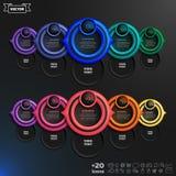 Lista infographic do projeto do vetor com círculos coloridos Foto de Stock Royalty Free