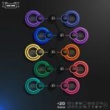 Lista infographic do projeto do vetor com círculos coloridos Fotografia de Stock Royalty Free