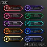 Lista infographic do projeto do vetor com círculos coloridos Imagens de Stock