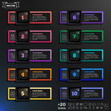 Lista infographic do projeto do vetor com quadrados coloridos Fotos de Stock