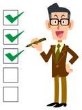 Lista kontrolna biznesmena uśmiechnięci szkła ilustracja wektor