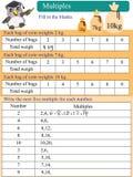 Lista matemática dos múltiplos Fotos de Stock Royalty Free