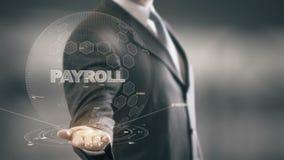 Lista płac z holograma biznesmena pojęciem ilustracji