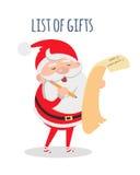 Lista prezenty Święty Mikołaj z lista życzeń wektorem royalty ilustracja