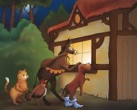 Lista y gato del perro del caballo Imagenes de archivo