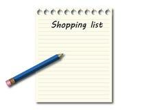 Lista zakupów z błękitnym ołówkiem Obrazy Royalty Free