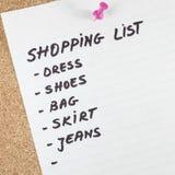 Lista zakupów Obrazy Stock