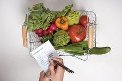 LISTA ZAKUPÓW Z SAŁATKOWYM produkt spożywczy I piórem Zdjęcie Stock