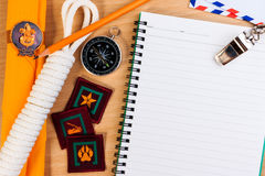 Listas de control del embalaje para las acampadas del explorador, vacaciones del viaje Imágenes de archivo libres de regalías