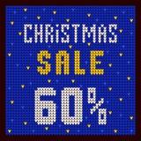 Listas de precios, plantilla del descuento Azul del descuento 60 de la oferta de la Navidad Imágenes de archivo libres de regalías