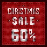 Listas de precios, plantilla del descuento Azul del descuento 60 de la oferta de la Navidad Imagen de archivo libre de regalías
