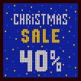 Listas de precios, plantilla del descuento Azul del descuento 40 de la oferta de la Navidad Imágenes de archivo libres de regalías