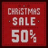 Listas de precios, plantilla del descuento Descuento 50 de la oferta de la Navidad Fotografía de archivo libre de regalías