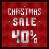 Listas de precios, plantilla del descuento Descuento 40 de la oferta de la Navidad Foto de archivo libre de regalías