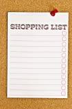 Liste d'achats Image stock