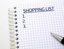 Liste d'achats Photo stock