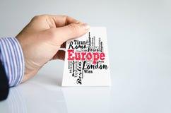 Liste d'Union européenne de collage de nuage de mot de villes photo libre de droits