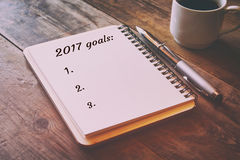 Liste de buts de la vue supérieure 2017 avec le carnet Photo libre de droits