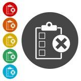 Liste de contrôle avec X Mark Icon illustration libre de droits