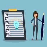 Liste de contrôle, femme d'affaires, stylo, ampoule d'idée illustration libre de droits