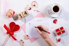 Liste de contrôle pour le jour du ` s de St Valentine photos libres de droits