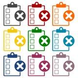 Liste de contrôle avec l'ensemble de X Mark Icons Illustration Stock