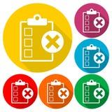 Liste de contrôle avec l'ensemble de X Mark Icons Illustration de Vecteur