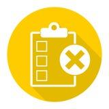 Liste de contrôle avec X Mark Icon avec la longue ombre Photo libre de droits