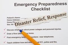 Liste de contrôle de secours Photo libre de droits