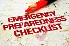 Liste de contrôle de secours Photographie stock libre de droits