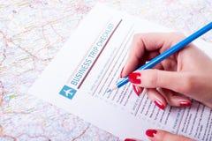 Liste de contrôle de voyage d'affaires Photo stock