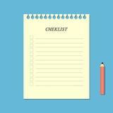 Liste de contrôle et crayon Photographie stock libre de droits