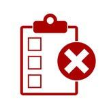 Liste de contrôle rouge avec X Mark Icon Photos libres de droits