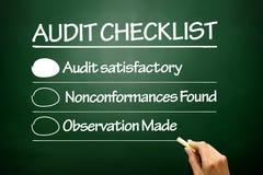 Liste de contrôle tirée par la main d'audit, concept d'affaires sur le tableau noir Photos libres de droits