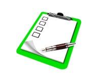 Liste de contrôle sur la planchette Photographie stock