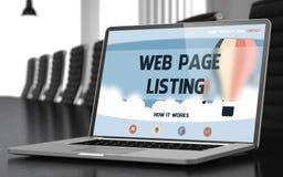 Liste de page Web - sur l'écran d'ordinateur portable closeup 3d Images stock