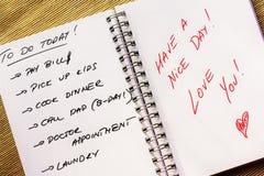 Liste de remue-ménage pour un conjoint photos libres de droits