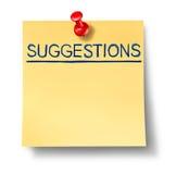 Liste de suggestions sur la note jaune de bureau Image libre de droits
