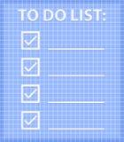 Liste de ToDo sur la feuille contrôlée bleue Photo stock