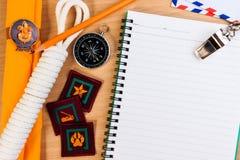Liste di controllo dell'imballaggio per i viaggi di campeggio dell'esploratore, vacanza di viaggio immagini stock libere da diritti
