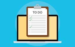 Liste en ligne de todo avec le presse-papiers et l'ordinateur portable et liste de contrôle sur l'écran illustration libre de droits