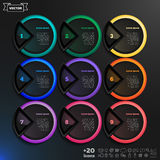 Liste infographic de conception de vecteur avec les cercles colorés Photographie stock libre de droits